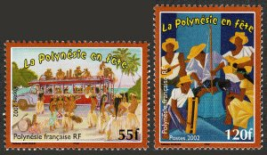French Polynesia 840-841,MNH.Polynesians at Festivals.Dancers,bus;Musicians,2002