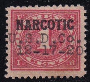 US STAMP BOB #RJA33 Narcotic Tax Stamp 1919 U. S. D. CO. CANCEL XF