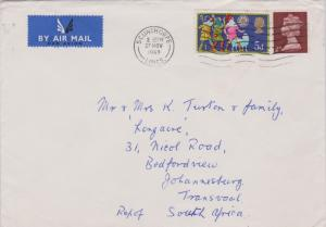 Great Britain 5d Christmas Three Shepherds and 2d QEII Machin 1969 Scunthorpe...