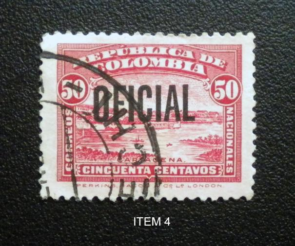 COLOMBIA 1937.USED. SCOTT # O5.  OVERPRINTED OFFICIAL STAMP. ITEM 4