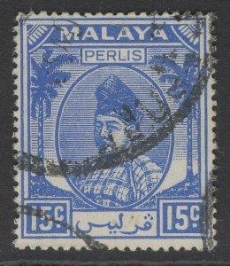 MALAYA PERLIS SG17 1951 15c ULTRAMARINE USED