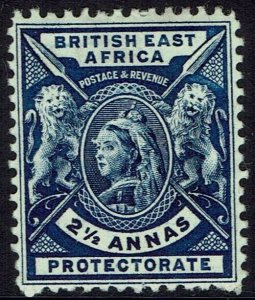 BRITISH EAST AFRICA 1896 QV LIONS 21/2A