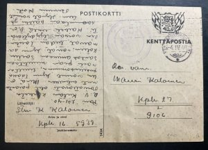 1940 Finland Kenttapost Censored Postcard Cover To Army Soldier