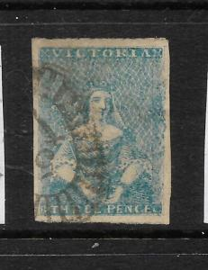 VICTORIA  1850-53  1d  BRIGHT PINK RED  QV IMPERF   FU  SG 12a