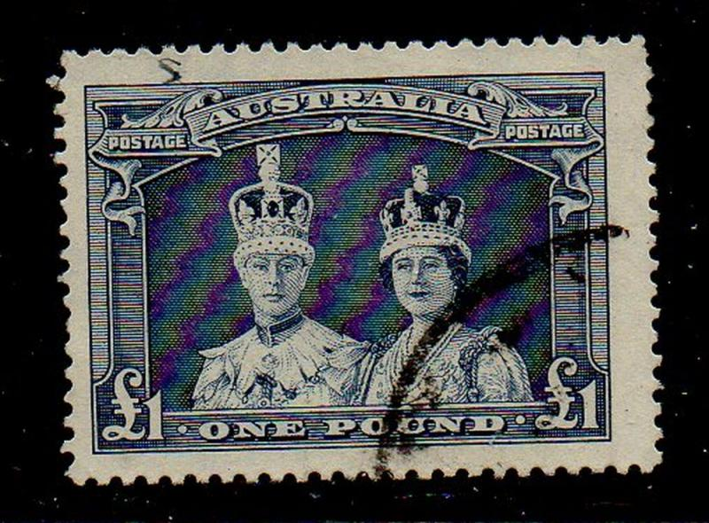 Australia Sc  179 1938 £1 King & Queen stamp used