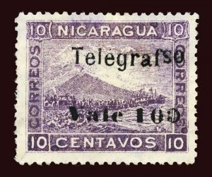 NICARAGUA Hiscocks #H116a 1907 Momotombo, Telegrafso error used, EFO