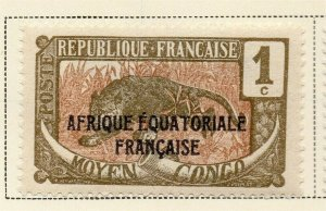 Middle Congo 1924 Early Issue Fine Mint Hinged 1c. Optd 324723