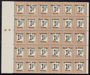 SOUTH WEST AFRICA 1923 POSTAGE DUE 11/2D MNH ** BLOCK SETTING V