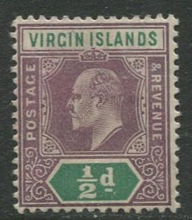 Virgin Is.- Scott 29 - KEVII Definitive -1904 - MNH -Wmk 3 - Single 1/2p Stamp