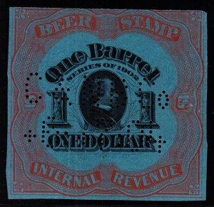 US REA80a $1 Beer Revenue Stamp Used VF SCV $125