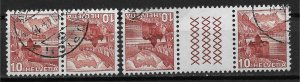 1939 Switzerland 230a Chillon Castle Tete Beche & Gutter Pairs used.