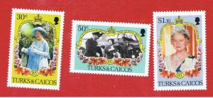 Turks & Caicos Islands #676-678  MVFLH OG  Queens  Birthday   Free S/H