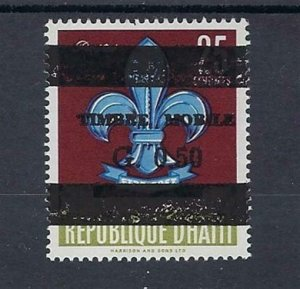 1971 Haiti Boy Scout 22nd anniversary 25 centimes revalued fiscal overprint