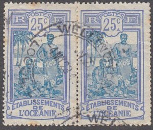 FRENCH POLYNESIA NEW ZEALAND 1924 25c(2) WELLINGTON LOOSE LETTERS cds.......5235