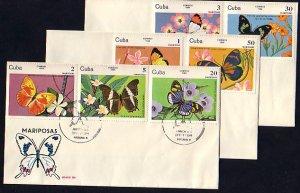 Cuba, Scott cat. 2670-2676. Butterflies issue. 3 First day covers. ^