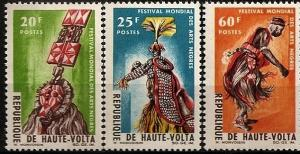 Upper Volta 1966 Festival Cultures Costume Folk Dance Mask Music Art Stamps MNH