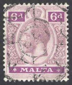 Malta Sc# 58 Used 1914-1921 6p King George V