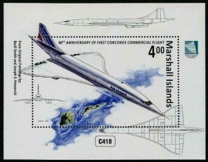 HERRICKSTAMP NEW ISSUES MARSHALL ISLANDS Sc.# 1131 1st Concorde Flight S/S
