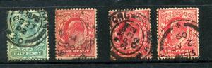 Great Britain #127,128 (3 color varities) Used