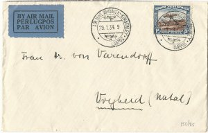 South West Africa 29 January 1934 Windhoek-Kimberly Airmail Cover to Natal