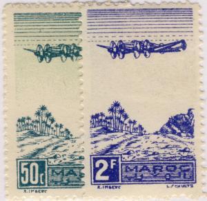 MAROC - 1944 - Yv.PA50/1 / Mi.207/8 50c vert & 2fr bleu - Neuf*
