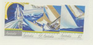 Australia Scott #1011 To 1014, Views of Yachts Racing, America's Cup Issue Fr...