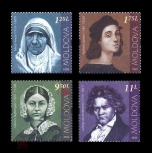 Stamps 2020 Moldova 1140-1143 Mother Teresa. Raphael. Florence Nightingale. Ludw