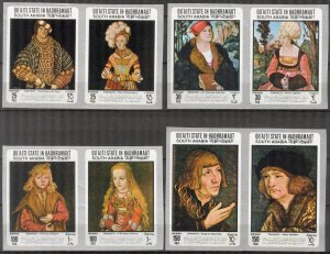 {AH005}ADEN / Hadhramaut 1967 Art Paintings Cranach imperf. MNH 30Eur.