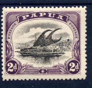 Papua 1909 sg 68 2d blk & purple - var cross on hill flaw, posn 11 - LM