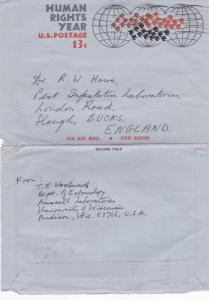 United States 1969 Madison Wisconsin to Egham UK Aerogramme VGC