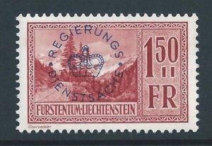 Liechtenstein #O20 NH 1.50fr Valuna Ovptd.