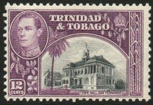 TRINIDAD & TOBAGO-1938-44 12c Black & Purple Sg 252 MOUNTED MINT V48443