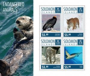 SOLOMON ISLANDS 2014 SHEET ENDANGERED ANIMALS slm14702a