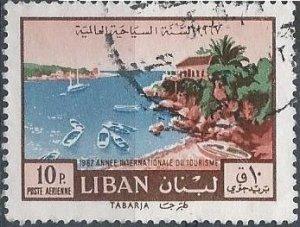 Lebanon C515 (used) 10p Tourist Year: view of Tabaria (1967)
