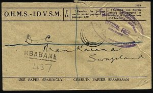 SWAZILAND 1949 OHMS registered cover Mbabane to Mankaiana (via S.A.).......23628