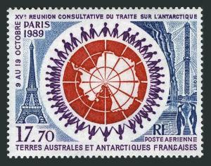 FSAT C108,MNH.Michel 258. Antarctic Treaty Summit,1989.Eiffel tower,Map,Penguins