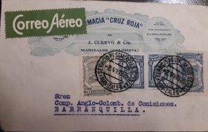 O) 1925 COLOMBIA, SCADTA MANIZALES -RED CROSS PHARMACY - FARMACIA CRUZ