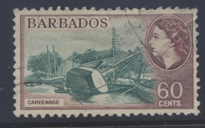Barbados - Scott 245-  QEII - Definitive -1953 - FU -Single 60c Stamp