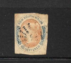 NEW SOUTH WALES 1856-59    6d  REGISTERD  QV   FU  SG 103 ...