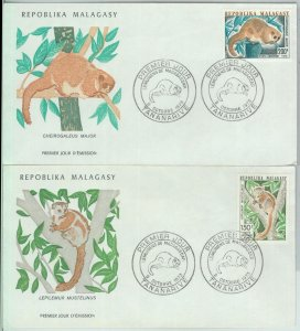 81132 - MADAGASCAR - POSTAL HISTORY -  2 FDC COVERS 1973 - FAUNA Lemurs