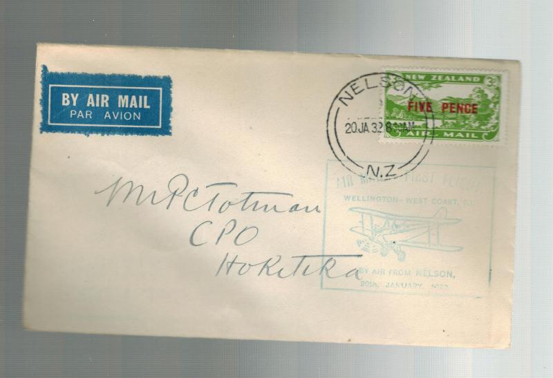 1932 New Zealand Nelson to Hokitika FFC First Flight Cover # C4