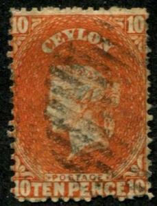 Ceylon SC#56a / SG#58b Victoria, 10d, SG wmk 5 (see below)