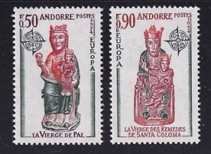 Andorra French  #232-233  MNH  1974   Europa  Virgin of Pal   carvings