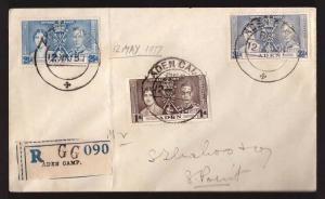 Aden, 1937 Coronation set on registered cover     -BN50