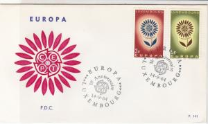 Europa Luxembourg 1964 CEPT Ann. Cancels Flower Pic FDC 2xStamps Cover Ref 25990