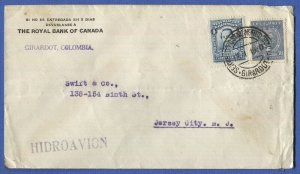 W695 -  COLOMBIA 1930 Hidroavion SCADTA Sea Plane cover, GIRARDOT to USA