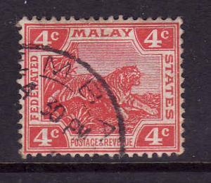 Federated Malaya States-SC#44b-used-4c scar die II-1906-22-T