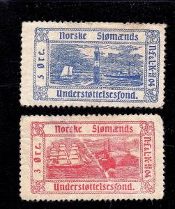 Norway 5 & 3 ore Norse Poster stamps (Faults)