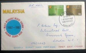 1967 Kuching Sarawak Malaysia First Day Cover FDC To England Council Negri