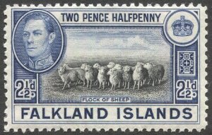 FALKLAND ISLANDS 1938, 2 1/2d ultra & black, Sc 87 MH, F-VF Flock of Sheep